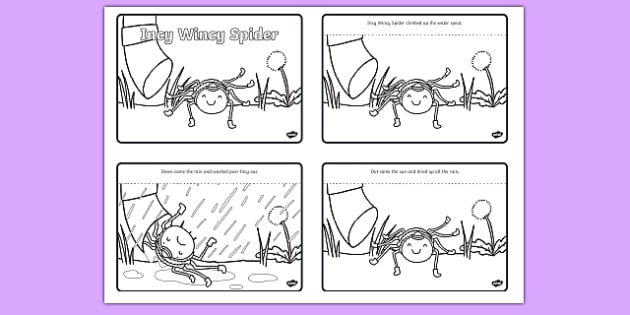Incy Wincy Spider Sequencing (4 per A4)  - Incy Wincy Spider, nursery rhyme, sequencing, rhyme, rhyming, nursery rhyme story, nursery rhymes, Incy Wincy Spider resources, minibeasts