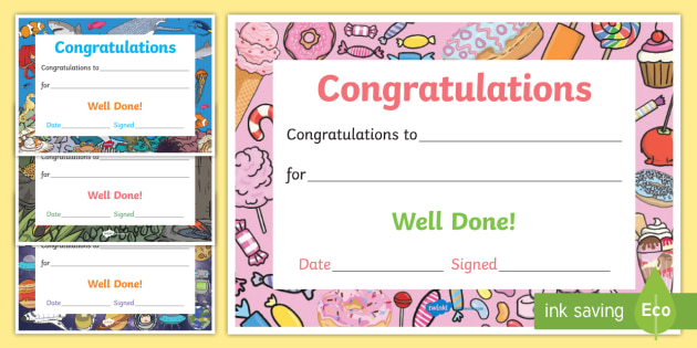 Well Done Congratulations Certificates  Well Done