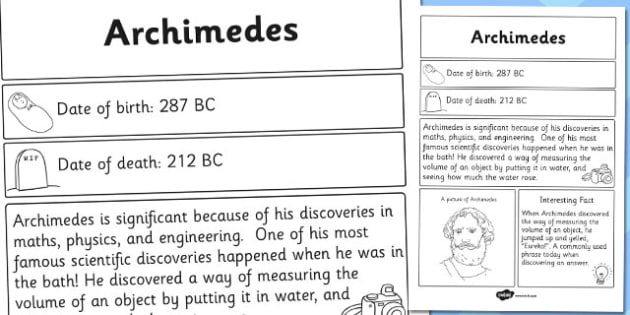 Archimedes Significant Individual Fact Sheet - archimedes, facts