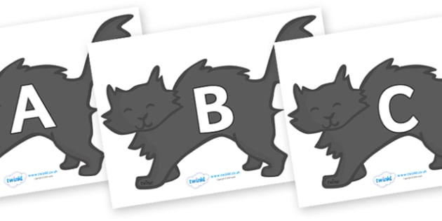 A-Z Alphabet on Black Cats - A-Z, A4, display, Alphabet frieze, Display letters, Letter posters, A-Z letters, Alphabet flashcards