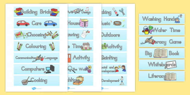 Visual Timetable Tray Labels for Kindergarten - australia, visual, timetable, tray, labels, kindergarten