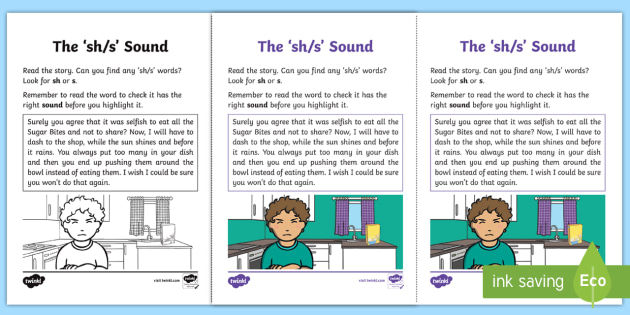 Northern Ireland Linguistic Phonics Stage 5 and 6 Phase 3b, 'sh, s' Sound Activity Sheet - Linguistic Phonics, Phase 3b, Northern Ireland, 'sh', 's',  sound, sound search, text, workshe