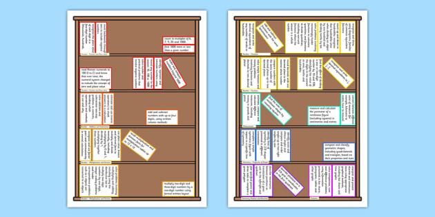 2014 Curriculum Year 4 Maths Assessment Target Colouring Bookshelf
