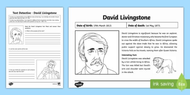 David Livingstone Text Detective - david livingstone, text detective, text, detective, fact, writing, activity