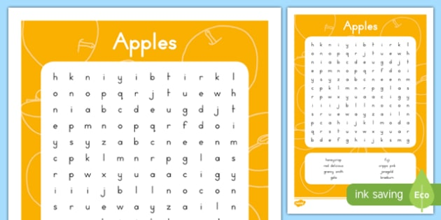 Fall Apples Word Search