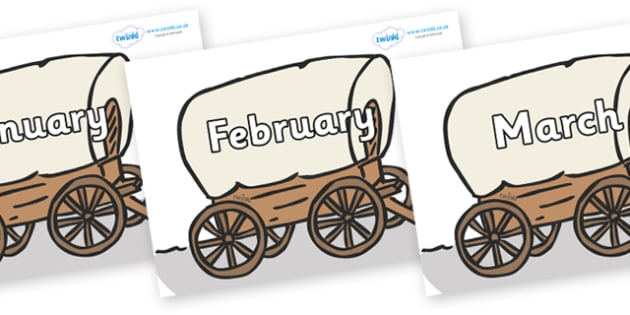 Months of the Year on Wagons - Months of the Year, Months poster, Months display, display, poster, frieze, Months, month, January, February, March, April, May, June, July, August, September
