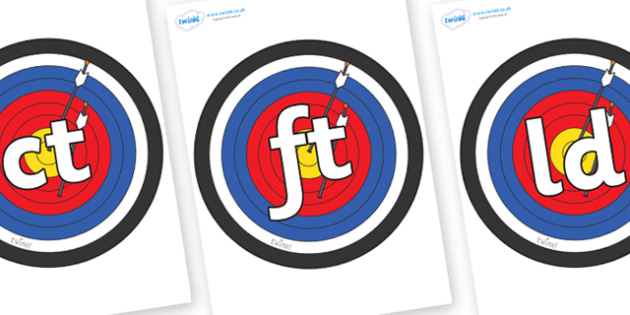 Final Letter Blends on Colour Targets - Final Letters, final letter, letter blend, letter blends, consonant, consonants, digraph, trigraph, literacy, alphabet, letters, foundation stage literacy