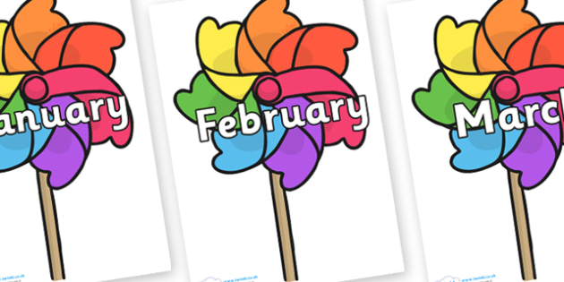 Months of the Year on Beach Windmills - Months of the Year, Months poster, Months display, display, poster, frieze, Months, month, January, February, March, April, May, June, July, August, September
