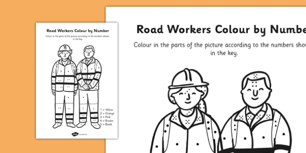 Road Workers Colour By Number Dots - colour, number dots, number, dots, road workers