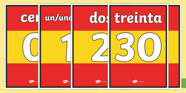 Basic Spanish Numbers 0-30 Display Posters - spanish, basic, numbers, 0-30, display posters, display, posters