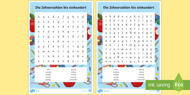 Numbers 10 to 100 Counting in Tens Word Search German - Numbers, Counting, German, ks1, ks2, mfl, modern foreign languages, counting in tens