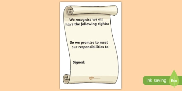 Class Charter for SEAL Writing Frame - seal, class charter, class right, class rights poster, class charter poster, class charter scroll, seal scroll, responsibilities