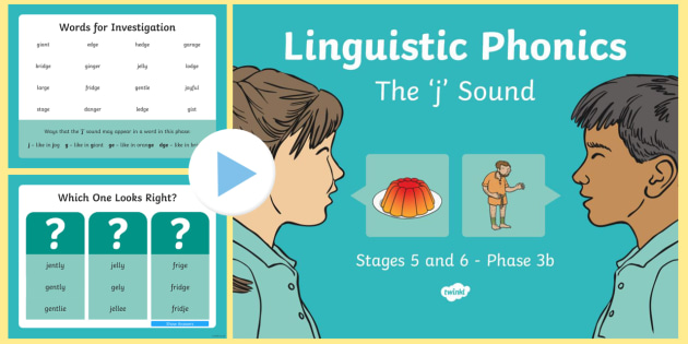 Northern Ireland Linguistic Phonics Stage 5 and 6 Phase 3b, 'j' Sound PowerPoint - Linguistic Phonics, Phase 3b, Northern Ireland, 'j' sound, sound search, word sort, investigatio