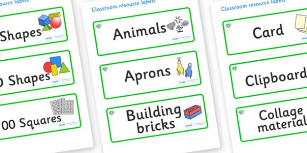 Emerald Themed Editable Classroom Resource Labels - Themed Label template, Resource Label, Name Labels, Editable Labels, Drawer Labels, KS1 Labels, Foundation Labels, Foundation Stage Labels, Teaching Labels, Resource Labels, Tray Labels, Printable l