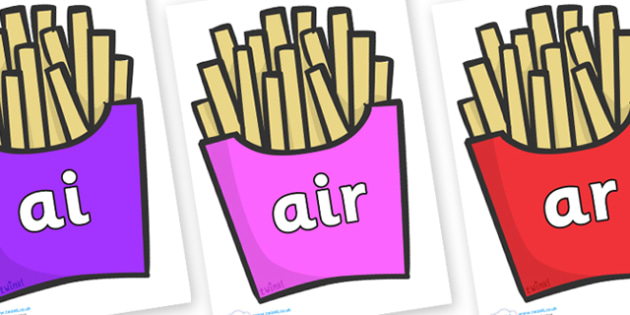 Phase 3 Phonemes on French Fries - Phonemes, phoneme, Phase 3, Phase three, Foundation, Literacy, Letters and Sounds, DfES, display