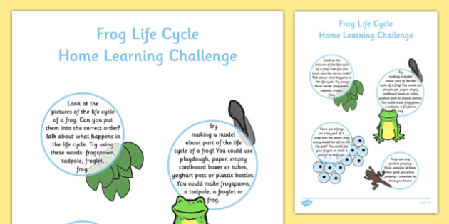 EYFS Frog Life Cycle Home Learning Challenge Sheet Nursery FS1 - EYFS, homework, Early years, Life Cycles, frogs, tadpoles, frogspawn, spring, growth, growing