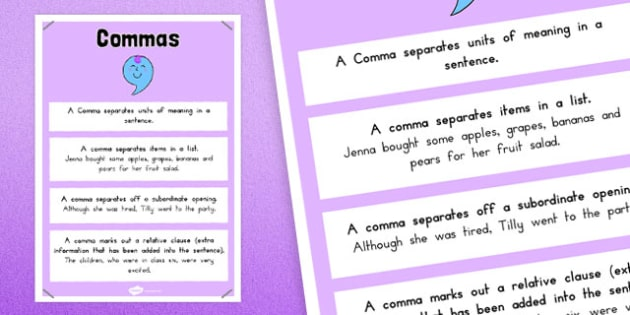Commas Punctuation Poster - australia, punctuation, commas, display