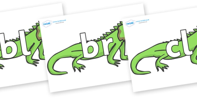 Initial Letter Blends on Iguanas - Initial Letters, initial letter, letter blend, letter blends, consonant, consonants, digraph, trigraph, literacy, alphabet, letters, foundation stage literacy