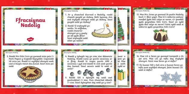 * NEWYDD * Cardiau Her Ffracsiynau Nadolig - Christmas Wales - Welsh Medium, Christmas Fractions - welsh, Ffracsiynau Nadolig, Cardiau Ffracsiyna