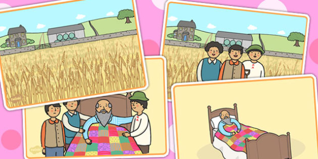 The Farmer and His Sons Short Story Sequencing - aesops fables