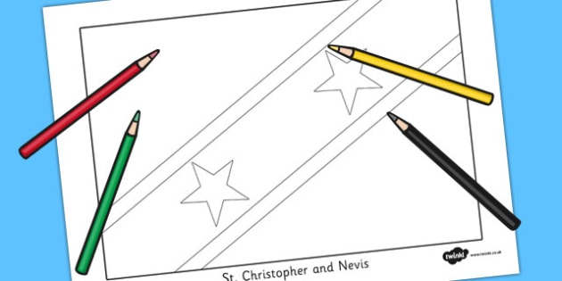 St Christopher and Nevis Flag Colouring Sheet - countries, flags