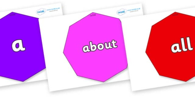100 High Frequency Words on Octagons - High frequency words, hfw, DfES Letters and Sounds, Letters and Sounds, display words