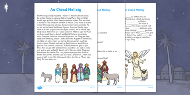 An Chéad Nollaig Comprehension Questions and Cloze Activity Gaeilge - gaeilge, nativity, story, comprehension