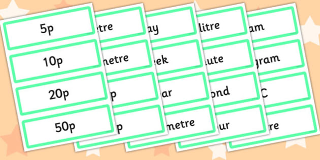 Measures Vocabulary and Picture Card Games Word Cards - word cards