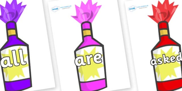 Tricky Words on Party Poppers - Tricky words, DfES Letters and Sounds, Letters and sounds, display, words