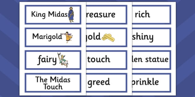 King Midas Word Cards - king midas, word cards, word, cards