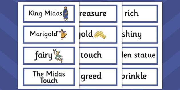 King Midas Word Cards - king midas, word cards, word, cards
