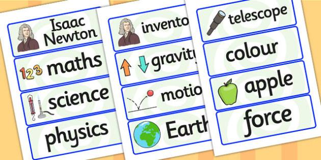 Isaac Newton Word Cards - isaac newton, word cards, themed word cards, cards of words, key words, topic words, words, writing aid, writing guide, keywords