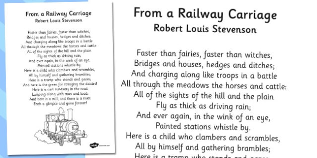 R L Stevenson From a Railway Carriage Poem - stevenson, railway