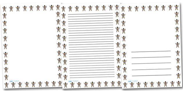 Monkey Landscape Page Borders- Landscape Page Borders - Page border, border, writing template, writing aid, writing frame, a4 border, template, templates, landscape