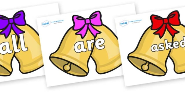 Tricky Words on Christmas Trees (Bows) - Tricky words, DfES Letters and Sounds, Letters and sounds, display, words