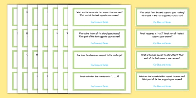Common Core Fifth Grade Reading Literature Question Stem Cards - usa, US Resources, Grade 5, RL, Common Core, Question Stems, Question Starters