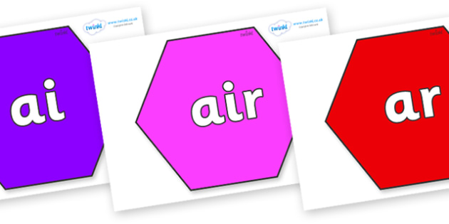 Phase 3 Phonemes on Hexagons - Phonemes, phoneme, Phase 3, Phase three, Foundation, Literacy, Letters and Sounds, DfES, display