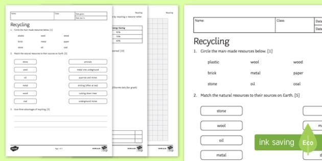 KS3 Recycling Homework Activity Sheet