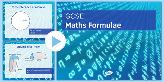 GCSE Maths Formulae PowerPoint - Maths, KS3 KS4, formula, GCSE, shape, measure, area, volume, probability, trigonometry, compound interest