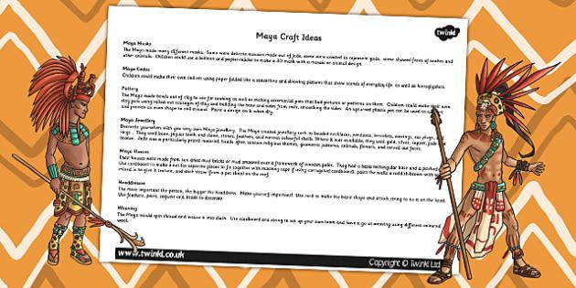 Mayan Civilization Craft Ideas - mayans, history, ancient maya