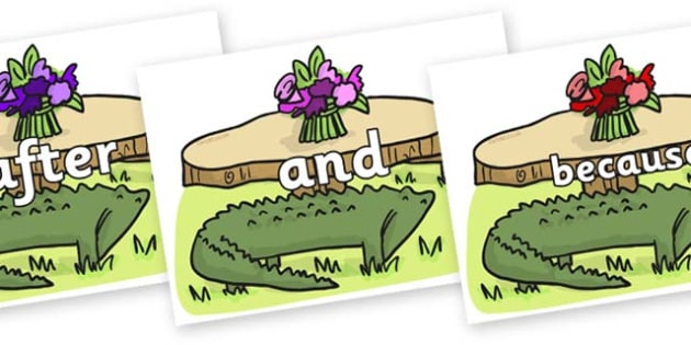 Connectives on Trick Four to Support Teaching on The Enormous Crocodile - Connectives, VCOP, connective resources, connectives display words, connective displays