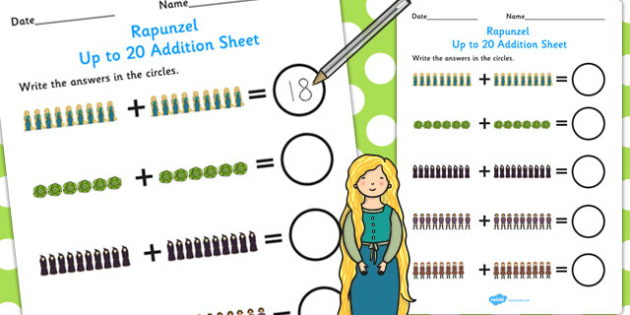 Rapunzel Up to 20 Addition Sheet - addition, sheet, rapunzel