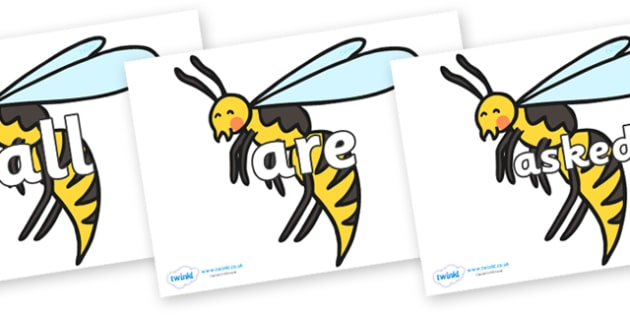 Tricky Words on Wasps - Tricky words, DfES Letters and Sounds, Letters and sounds, display, words
