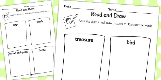 Hansel and Gretel Read and Draw Worksheet - read, draw, worksheet