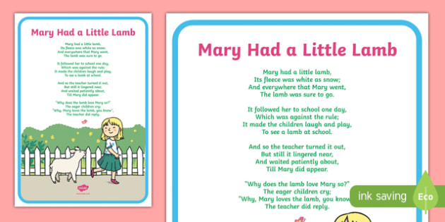 Mary Had a Little Lamb Nursery Rhyme Poster - mary had a little lamb, nursery rhyme, poster, display, display poster