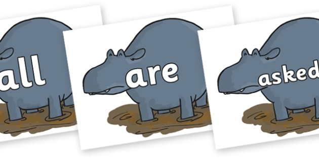 Tricky Words on Humpy Rumpy Hippopotamus to Support Teaching on The Enormous Crocodile - Tricky words, DfES Letters and Sounds, Letters and sounds, display, words