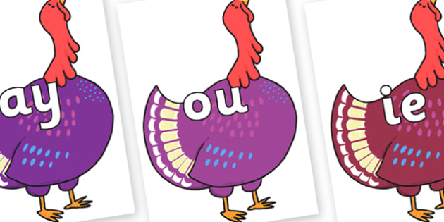 Phase 5 Phonemes on Hullabaloo Turkey to Support Teaching on Farmyard Hullabaloo - Phonemes, phoneme, Phase 5, Phase five, Foundation, Literacy, Letters and Sounds, DfES, display