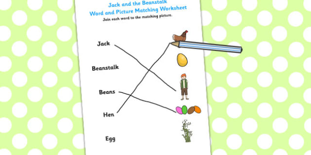 Jack and the Beanstalk Word and Picture Match - word, picture
