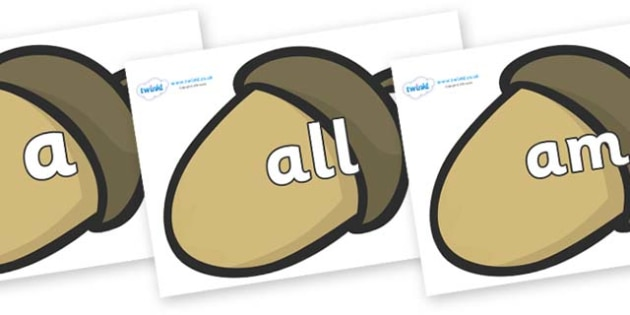 Foundation Stage 2 Keywords on Brown Acorns - FS2, CLL, keywords, Communication language and literacy,  Display, Key words, high frequency words, foundation stage literacy, DfES Letters and Sounds, Letters and Sounds, spelling