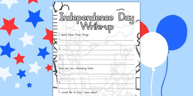 Independence Day Write Up Worksheet - 4th of July activities, independence day, write